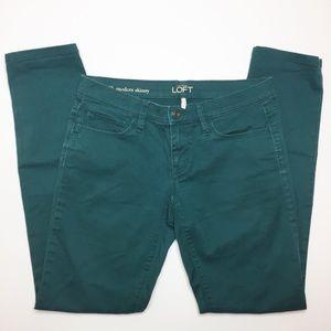 LOFT hunter green modern skinny jeans Size 2 26